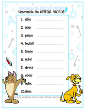 Unscramble the Dental Words activity sheet - Pediatric Dentist in Austin, Tx