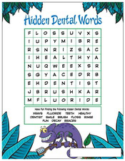 Hidden Dental Words activity sheet - Pediatric Dentist in Austin, Tx